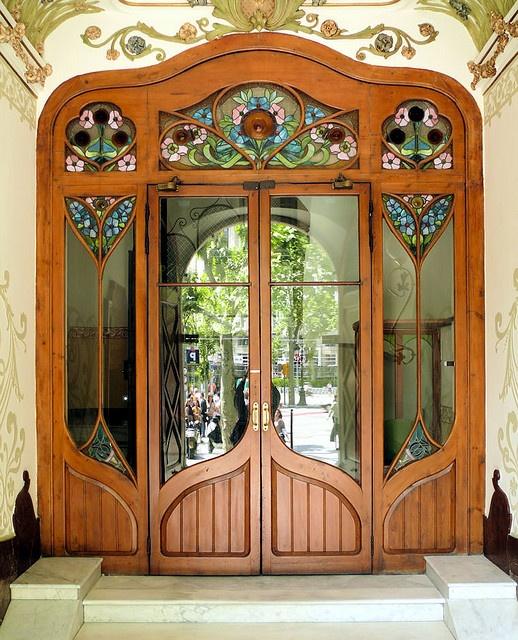 Art nouveau stained glass door stained pinterest for Art nouveau fenetre