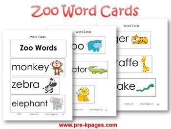 K Words For Kindergarten Zoo Word Cards for Vocabulary Development in pre-k and kindergarten
