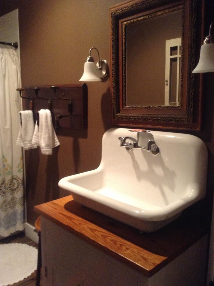 Vintage sink - drilled towel rack Bathroom ideas Pinterest