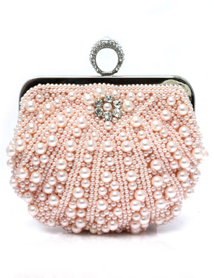 Solid Color Pearls Evening Bag for Woman | Bags