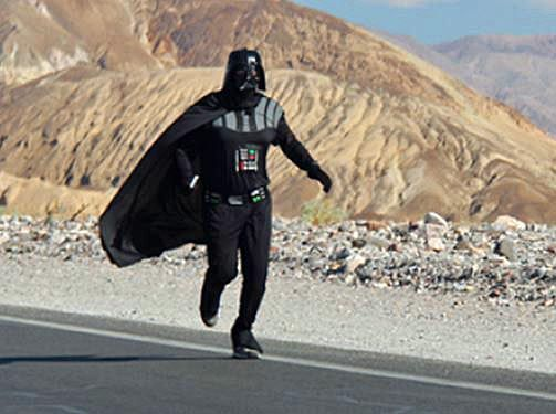 Man in Vader suit runs mile in 129-degree heat