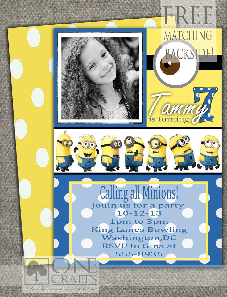 Minion Printable Photo Invitation $9.00 https://www.etsy.com/shop ...: pinterest.com/pin/395683517232095682