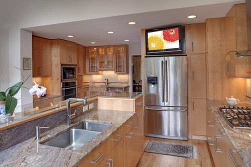Tv above refrigerator kitchen ideas pinterest for Tv in the kitchen ideas