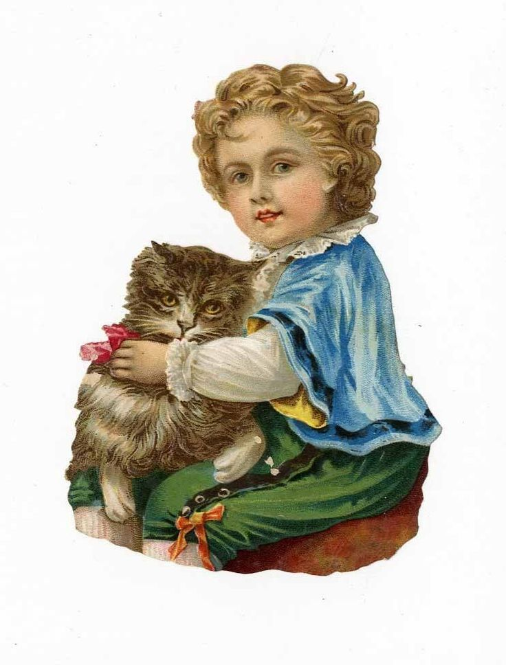 LITTLE BOY and his CAT Victorian Die Cut - 1880 s - Kitten - Child