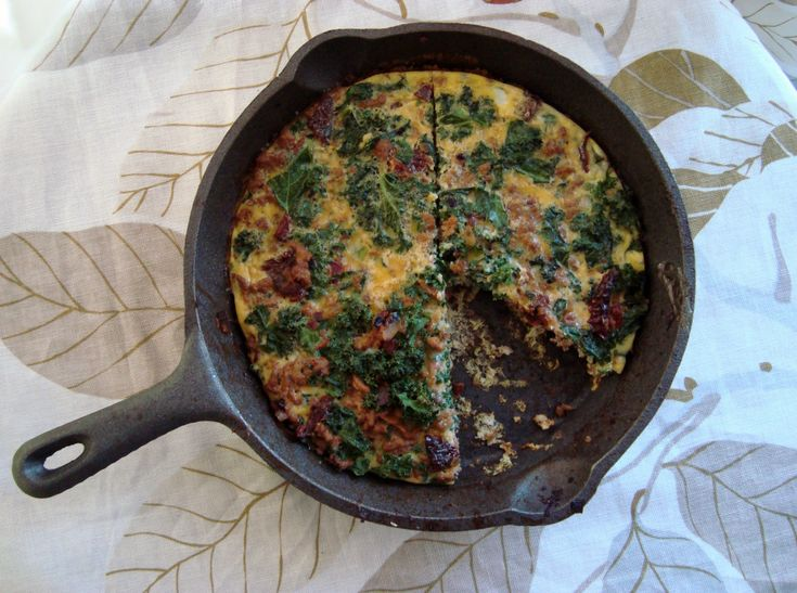 Turkey & Kale Frittata with Fire Roasted Red Peppers
