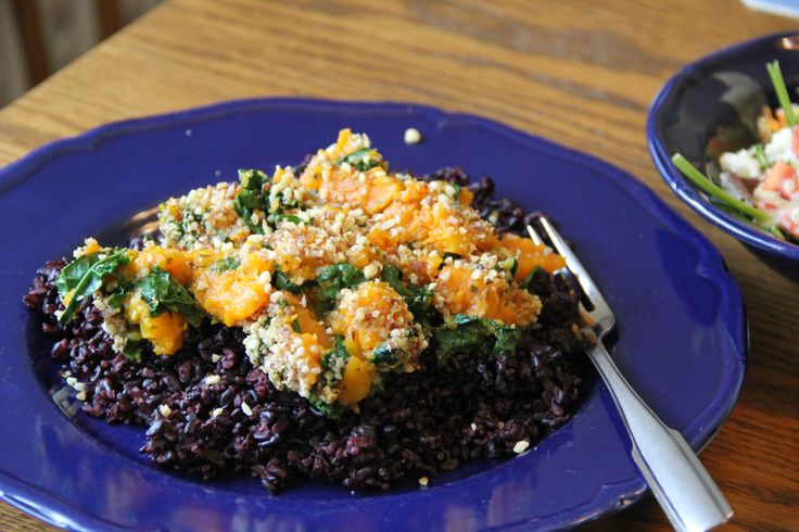 ... roasted butternut squash with kale and almond pecan parmesan served