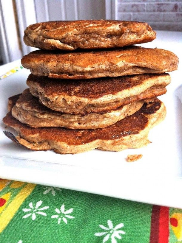 Healthy banana pecan pancakes made with yogurt and pecan meal.