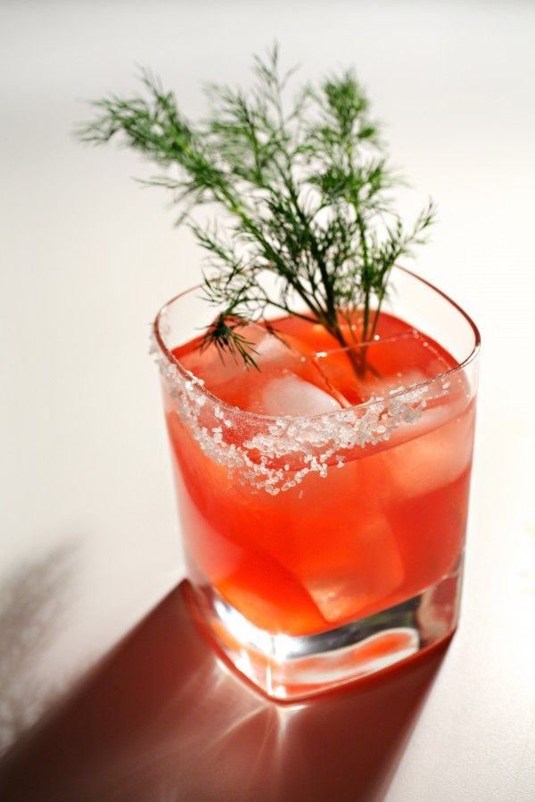 ... grapefruit juice, preferably ruby red 1 ounce Campari Sprig fresh dill