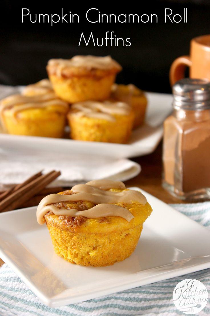 Caramel Glazed Pumpkin Cinnamon Roll Muffins from @Jessica l A Kitchen ...