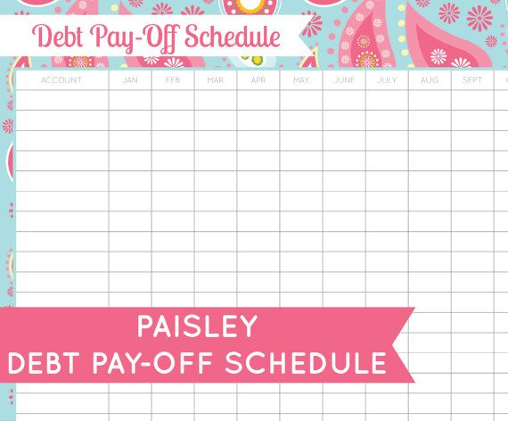 Debt paydown schedule insrenterprises debt pay off schedule printable pdf instant download pronofoot35fo Gallery