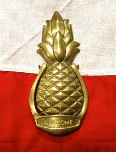 Vintage brass pineapple door knocker country primitive decor nice ebay finishing touches - Pineapple door knocker ...