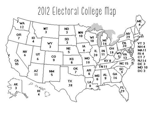 Map Of The Us With Electoral Votes - Us electoral map blank