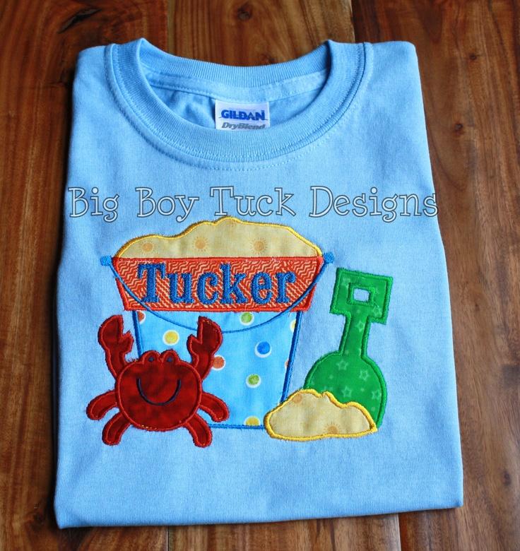 Sandbucket And Crab Applique T Shirt