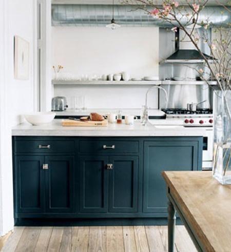 Dark green grey cabinets long shelf kitchen pinterest - Dark green kitchen cabinets ...