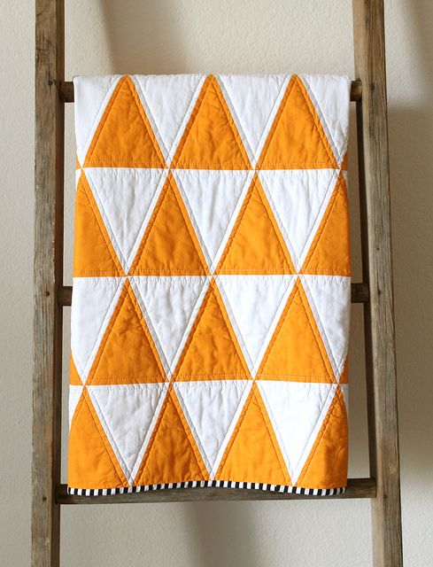 Orange and White Triangle Quilt