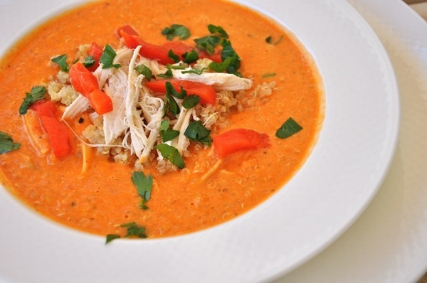 Creamy Chicken Soup with Quinoa Roasted Red Peppers -- ready in 15 ...