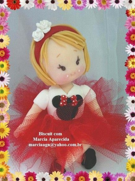 Menina de biscuit - Tema Minnie Vermelha