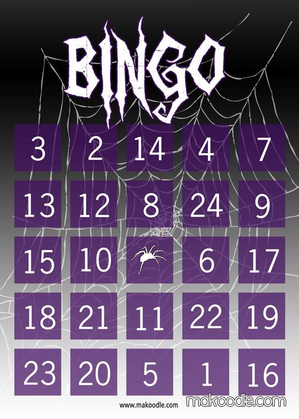 Spider Web Halloween Bingo Card 1 Cute Ideas Pinterest