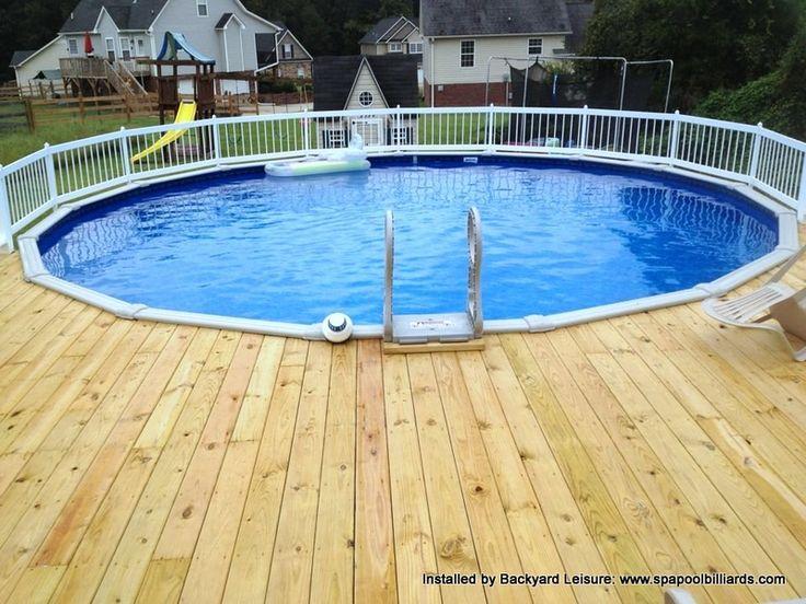 Round Above Ground With Decking Above Ground Pool Decks