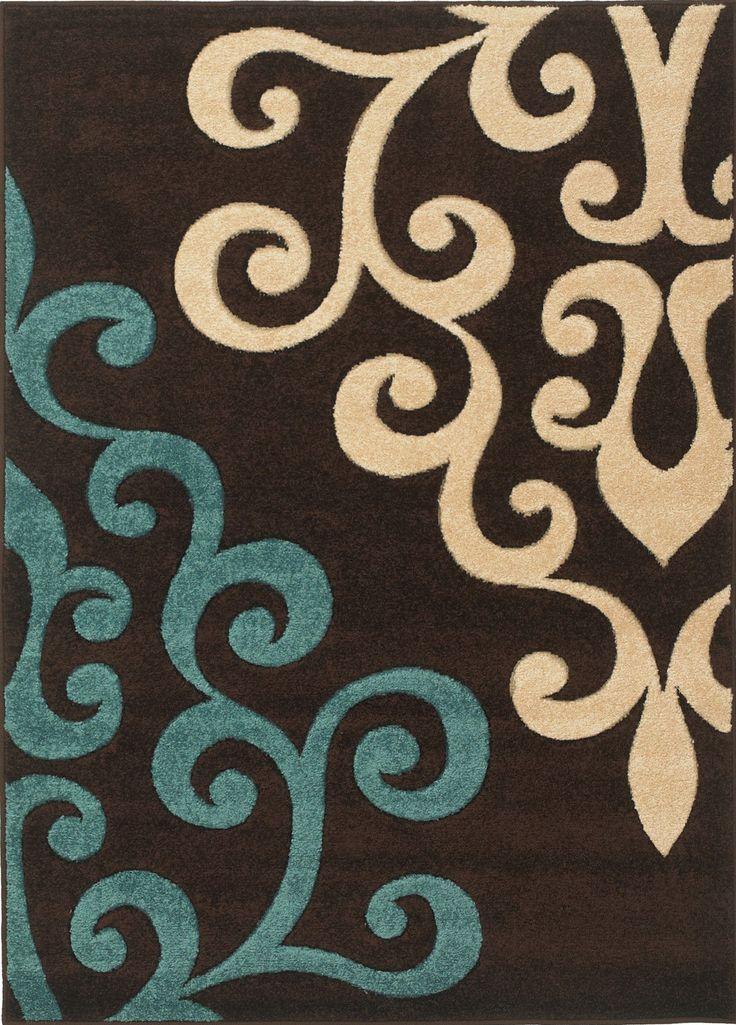 Rug modern damask brown teal blue cream 160x230cm ebay living