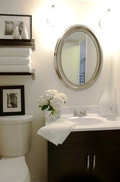 Simple and elegant small bathroom our home pinterest for Elegant small bathrooms