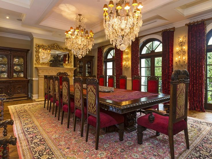 This Large Formal Dining Room Is Highlighted By A Stone Fireplace And