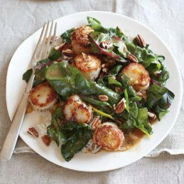 Grilled scallops with Swiss chard | The Yum | Pinterest