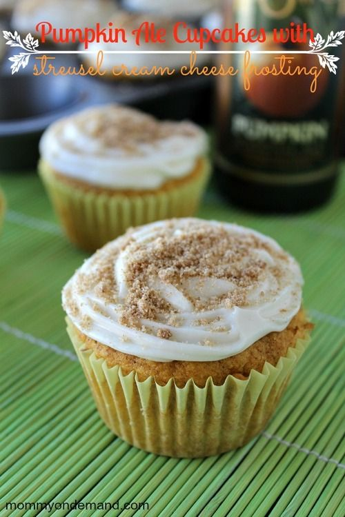 Pumpkin Ale Cupcakes with Streusel Cream Cheese Frosting