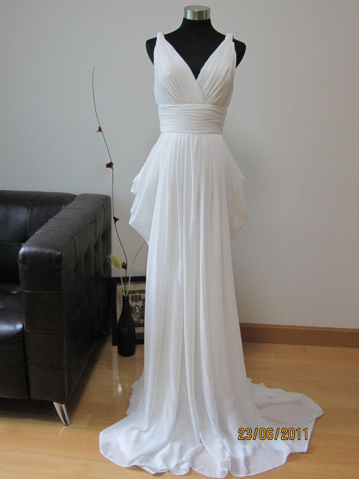grecian white chiffon wedding dress