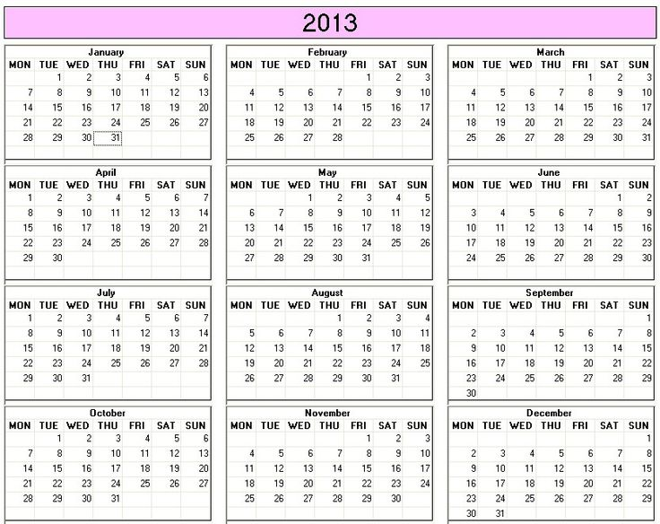 2013 calendar to print - Free. More options at www.calendarprintables ...