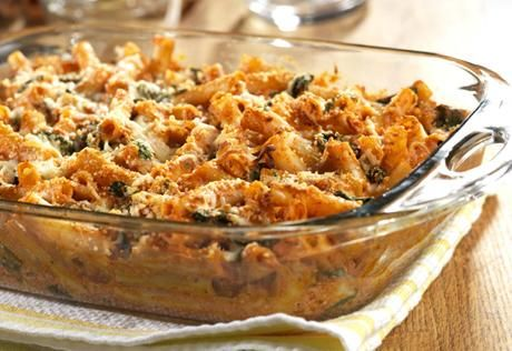 Campbell's Three Cheese Baked Ziti with Spinach Recipe