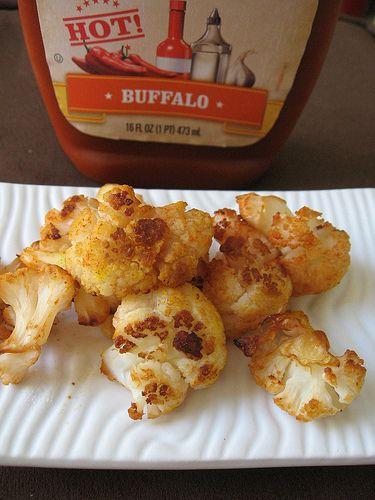 Buffalo Roasted Cauliflower... uhm yum! | Food | Pinterest