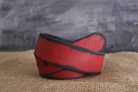 Red Leather Belt by Fosterweld by fosterweld on Etsy, $29.00