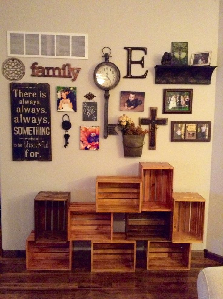 Wood Wall Decor For Living Room : Living room wall decor wood crate shelf