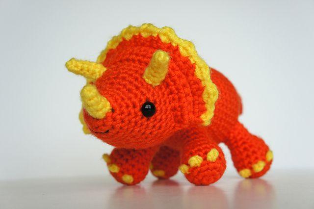 Amigurumi Triceratops Dinosaur pattern by Christina Dugan