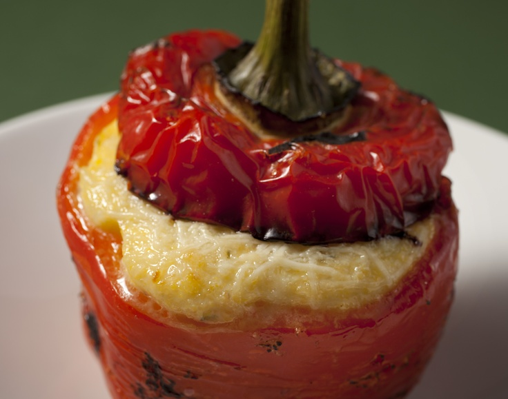 Polenta Stuffed Red Pepper Red Bell Peppers stuffed with Garlic ...