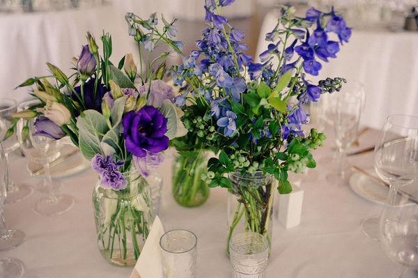 Jars of blue flowers