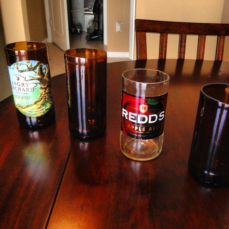 Beer bottles cut into drinking glasses for Alcohol bottles made into glasses