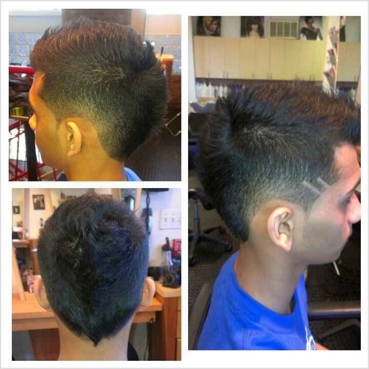 haircut fohawk fade and line work by ondrea haircut