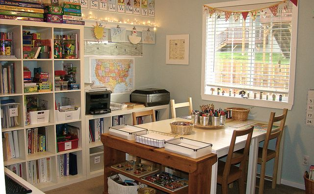 like the bookcases, work table, bins and magnetic board/clips. comfortable, bright space.