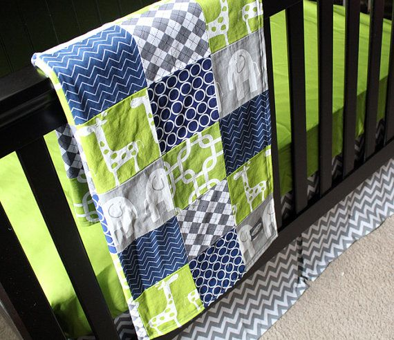 Custom crib bedding green navy blue and grey baby - Navy blue and green bedding ...