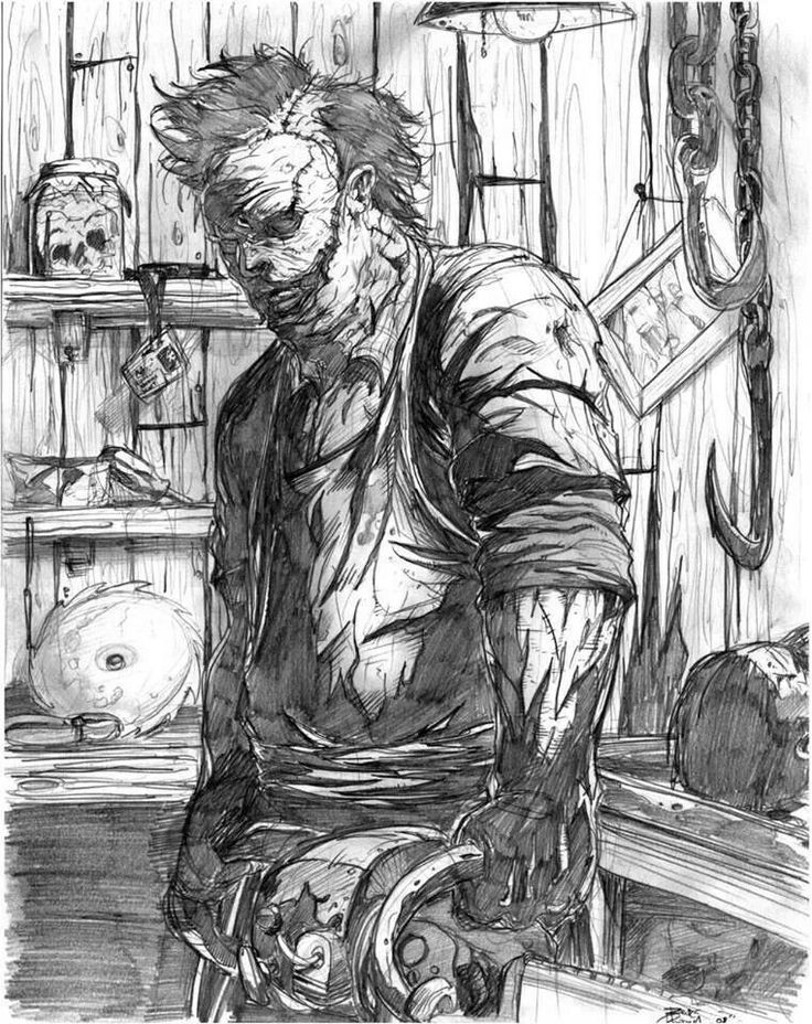 Leatherface sketch   sketches   Pinterest