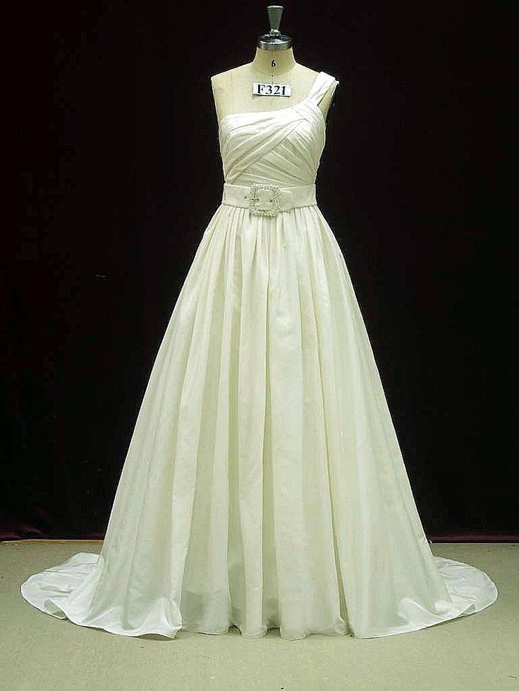 one shoulder wedding dress with pockets in taffeta