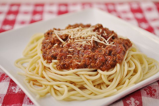 Spaghetti with Meat Sauce by yourhomebasedmom, via Flickr