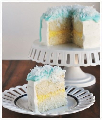 Slice Coconut Cream Layer Cake | CAKES | Pinterest