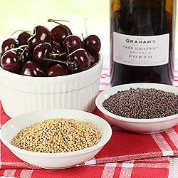 Port wine and bing cherries flavor a mustard made using yellow and ...