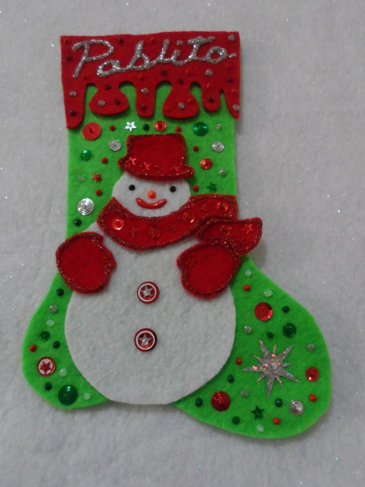 Snowman handmade Christmas Stocking | Handmade Christmas Stocking | P ...