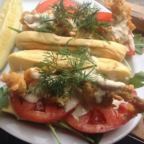 ... on Martin's Long Potato Rolls with tomato, horseradish mayo and dill