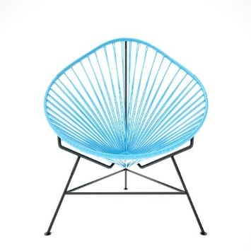 Acapulco chair turquoise weave on black frame patio lawn amp garden