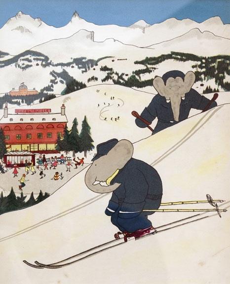 vintage babar - skiing